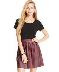 Stoosh Juniors' Pleated Faux Leather Skater Skirt Red