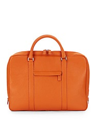 Saks Fifth Avenue Made In Italy Textured Leather Briefcase Orange