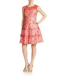 Kay Unger Bonded Lace Fit And Flare Dress Coral