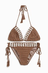 Anna Kosturova Seashore Lace Up Shell Bikini Beige