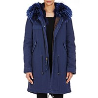 Mr And Mrs Italy Women's Canvas Fur Trimmed Parka Blue Navy Blue Navy