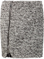 Bouchra Jarrar Front Zip Tweed Skirt Black