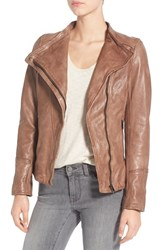 Lamarque Women's 'Tina' Asymmetrical Leather Jacket Funghi