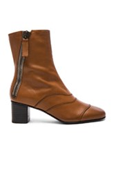 Chloe Leather Lexie Low Boots In Brown