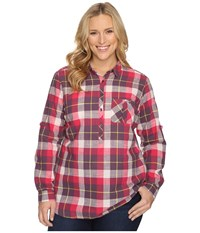 Columbia Plus Size Coral Springs Ii Woven Long Sleeve Shirt Purple Dahlia Plaid Women's Long Sleeve Button Up Red