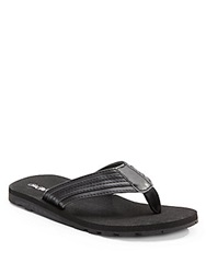 Saks Fifth Avenue Faux Leather Flip Flops Black