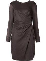 Josie Natori Metallic Asymmetric Draped Dress Grey