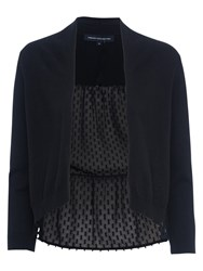 French Connection Bow Fringe Long Sleeved Cropped Cardigan Black