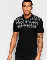 Asos Muscle Pique Polo With Geo Tribal Yoke In Black Black