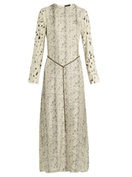 Calvin Klein Hita Printed Satin Twill Maxi Dress Beige Multi