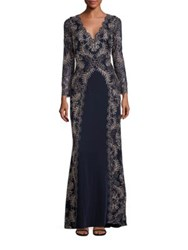 Tadashi Shoji Long Sleeve Scalloped V Neck Gown Navy Gold