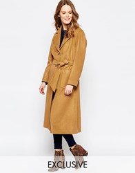 Helene Berman Button Down Belted Coat In Camel Camel Brown