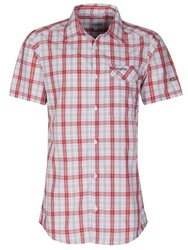 Craghoppers Check Classic Fit Short Sleeve Classic Collar Shi Red