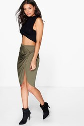 Sofie Wrap Over Ruched Midi Skirt