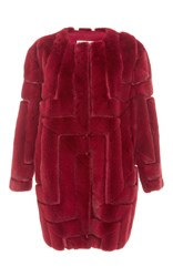 Color Temperature Long Mink Coat Red