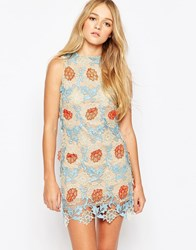 Glamorous Shift Dress With Crochet Overlay Blue Orange Nu Beige