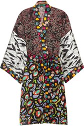 Duro Olowu Abstract Bird Printed Silk Georgette And Satin Kimono Black