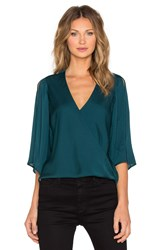 Halston Slit Sleeve Wrap Blouse Green