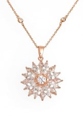 Women's Nina Crystal Flower Pendant Necklace Rose Gold