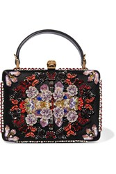 Alexander Mcqueen Embellished Appliqued Canvas And Satin Clutch Black