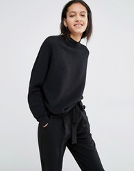 Just Female Remark Ribbed Jumper With High Neck Black
