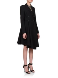 Givenchy Asymmetrical Flared Wool Coat Black