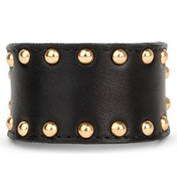 Zana Bayne Studded Leather Buckle Bracelet Black