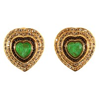 Alice Joseph Vintage 1980S Bijoux Cascio Gold Toned Diamante Heart Clip On Earrings Green Gold