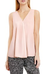 Vince Camuto Women's Drape Front V Neck Sleeveless Blouse Rosy Flush