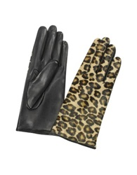 Forzieri Women's Leopard Pony Hair And Italian Nappa Leather Gloves Black