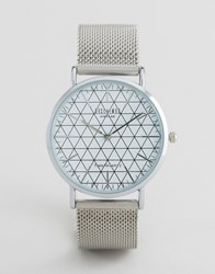 Reclaimed Vintage Geometric Mesh Strap Watch In Silver Silver