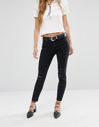Mango Distressed Ripped Skinny Jean Black