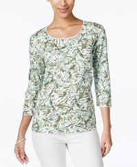 Karen Scott Printed Three Quarter Sleeve Tee Only At Macy's Olive Sprig