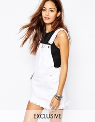 Liquor And Poker Dungaree Pinafore Dress With Raw Hem White
