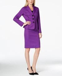 Le Suit Pipe Trim Jacket Skirt Suit Darkpurple