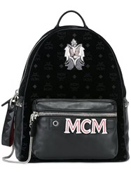 Mcm Logo Print Patched Backpack Black