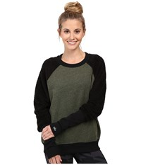 Alo Yoga Deck Long Sleeve Top Jungle Heather Black Women's Long Sleeve Pullover Gray