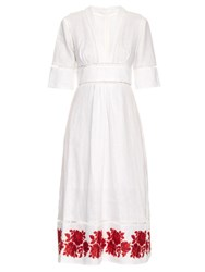 Zimmermann Roza Embroidered Hem Linen Dress White Multi