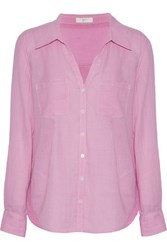 Joie Cartel Checked Cotton Poplin Shirt Baby Pink