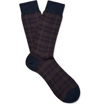 Pantherella Greenwich Checked Erino Wool Blend Socks Idnight Blue Midnight Blue