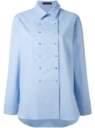 Cedric Charlier Double Breasted Shirt Blue