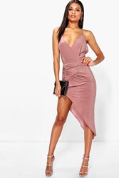 Boohoo Rouched Detail Asymmetric Slinky Bodycon Dress Mocha