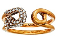 Marc Jacobs Charms Pave Safety Pin Ring Crystal Antique Gold Ring Clear