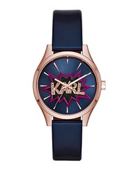 Karl Lagerfeld Belleville Studded Rose Goldtone Stainless Steel And Leather Strap Watch Kl1631 Navy Blue