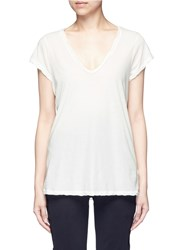 James Perse Deep V Neck Slub Jersey T Shirt White