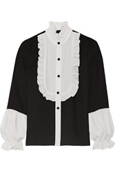 Anna Sui Two Tone Ruffle Trimmed Crepe Blouse Black