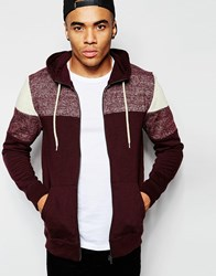 New Look Cutandsew Hoodie In Burgundy