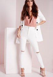 Missguided High Waisted Slash Knee Skinny Jeans White