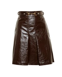 Gucci Patent Leather Pleated Skirt Brown