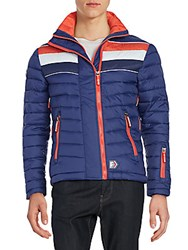 Superdry Quilted Double Zip Jacket Vermont Blue